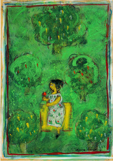 Figurative Tempera Art Painting title Lady In Green by artist Subroto Mondal