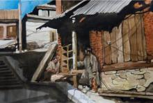 Landscape Watercolor Art Painting title 'Aab Rang Kashmir 07' by artist Suhail Naqshbandi