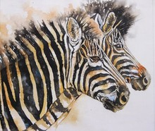 Animals Watercolor Art Painting title Zebras by artist Anjana Sihag