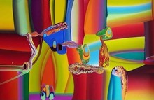 Abstract Acrylic Art Painting title Untitled 1 by artist Krishnamachari Bose