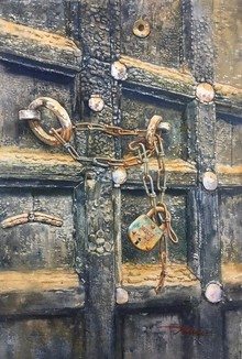 Still-life Watercolor Art Painting title Door by artist Nishikant Palande