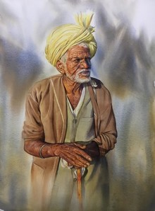Figurative Watercolor Art Painting title Untitled 1 by artist Nishikant Palande