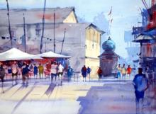 Cityscape Watercolor Art Painting title 'At Signal' by artist Ravhi Songirkaar
