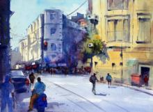 Cityscape Watercolor Art Painting title 'Blue Scooter' by artist RAVEE SONGIRKAR
