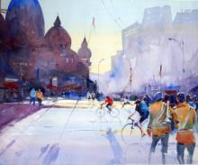 Cityscape Watercolor Art Painting title 'Two Bandwallha' by artist Ravhi Songirkaar