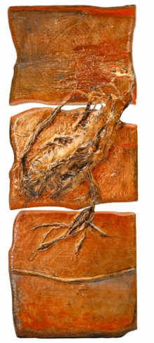 Mixed Media Painting titled 'Roots And Pathway 12' by artist Ami Patel on Copper