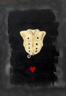 Abba | Acrylic Painting title Aitchbone And Red Heart on CardBoard | Artist Abba Gallery | ArtZolo.com