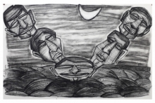 art, drawing, paper, charcoal, figurative