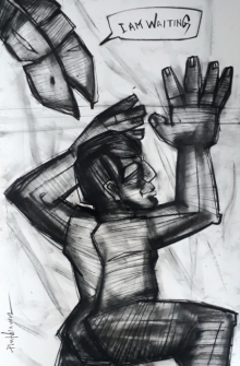 art, drawing, paper, charcoal, figurative