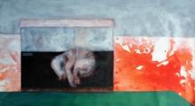 Animals Acrylic Art Painting title Red Rhino 4 by artist Raj Mazinder