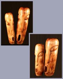 Wood Sculpture titled 'Gossip' by artist Sultan Alam