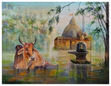 Religious Acrylic Art Painting title Shiva-Linga-Nandi by artist Barnali Ray