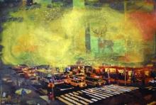 art, painting, acrylic, photo paper, cityscape