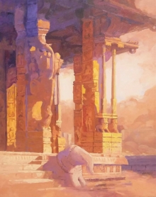 Religious Acrylic Art Painting title Hampi by artist Mohan Charya