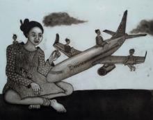 Nandini Pantawane | Cloude Nine Printmaking by artist Nandini Pantawane | Printmaking Art | ArtZolo.com