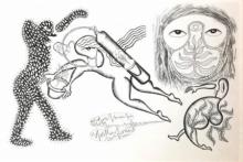 contemporary Ink Art Drawing title Ek Cylinder by artist Fayyaz Khan