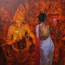 Religious Oil Art Painting title An Attempt by artist Harshad Khandre