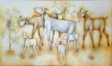 Animals Oil Art Painting title Goat by artist Mohan Naik