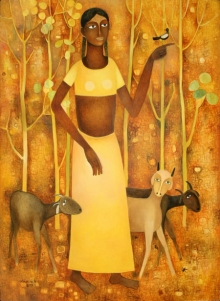 Figurative Oil Art Painting title Lady With Animals by artist Mohan Naik