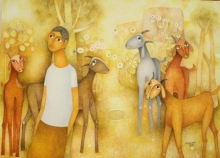 Figurative Oil Art Painting title Untitled 2 by artist Mohan Naik