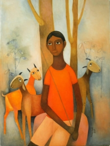 Figurative Oil Art Painting title Untitled 6 by artist Mohan Naik