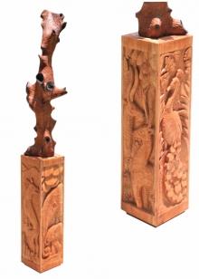 Wood Sculpture titled 'Jungle 2' by artist Nirmal Mallick