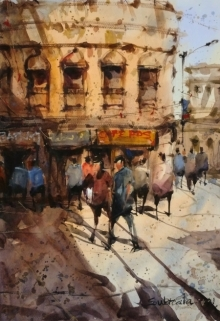 Cityscape Watercolor Art Painting title Untitled 1 by artist Subrata Malakar