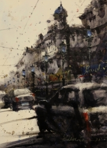 Cityscape Watercolor Art Painting title Untitled 5 by artist Subrata Malakar