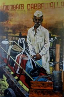 Figurative Acrylic Art Painting title Dabbawala Series 1 by artist Vijay Gille