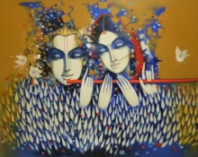 Religious Acrylic Art Painting title Radha Krishna by artist Vijay Gille