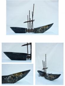 Black Marble Sculpture titled 'Untitled' by artist Yogender Kumar