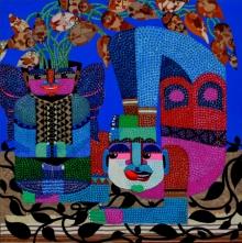 Figurative Acrylic Art Painting title The Sanctuary Of Loveliness by artist Tanushree Chakraborty