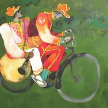 Figurative Acrylic Art Painting title Bandwallah by artist Chandramohan Kulkarni