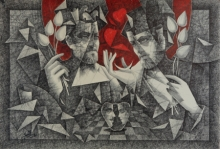 Figurative Pen-ink Art Drawing title Divine Journey by artist Ajay Kumar Samir