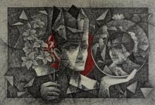 Figurative Pen-ink Art Drawing title Divine Moon by artist Ajay Kumar Samir