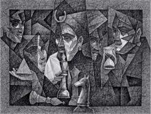 Figurative Pen-ink Art Drawing title Power And Game by artist Ajay Kumar Samir