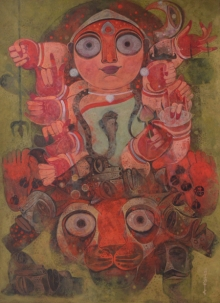 Religious Tempera Art Painting title Goddess Durga by artist Atish Mukherjee