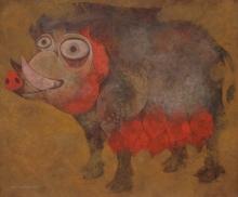 Animals Tempera Art Painting title Mother 1 by artist Atish Mukherjee