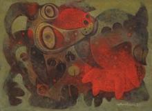 Animals Tempera Art Painting title Mother 2 by artist Atish Mukherjee