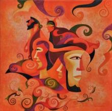 contemporary Acrylic Art Painting title Fairy Tale Theatre by artist Vandana Rakesh