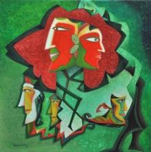 contemporary Acrylic Art Painting title Mystery 5 by artist Vandana Rakesh