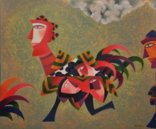 contemporary Acrylic Art Painting title Racing With The Clouds by artist Vandana Rakesh