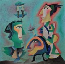 contemporary Acrylic Art Painting title Untitled 1 by artist Vandana Rakesh