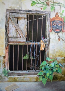 Landscape Acrylic Art Painting title After Retairment by artist Shyamsundar Achary