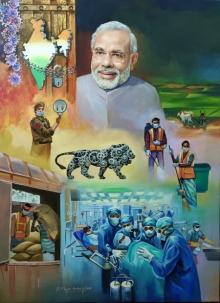 Figurative Acrylic Art Painting title Covid 19 Warriors by artist Shyamsundar Achary