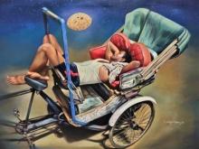 Figurative Acrylic Art Painting title Dreaming For Bread by artist Shyamsundar Achary