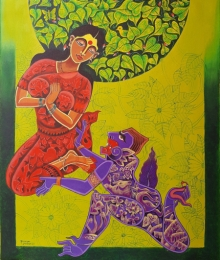 Religious Acrylic Art Painting title Ramayana Series 2 by artist Ramana Peram