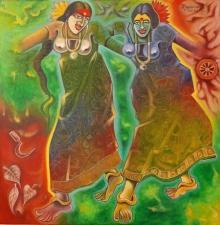 Religious Mixed-media Art Painting title Rhythm Of Dhimsa by artist Ramana Peram