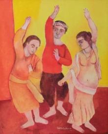 Figurative Oil Art Painting title Untitled 1 by artist Sakti Burman
