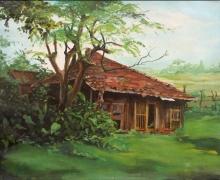 Landscape Acrylic Art Painting title Hut 2 by artist Chandrashekhar P Aher